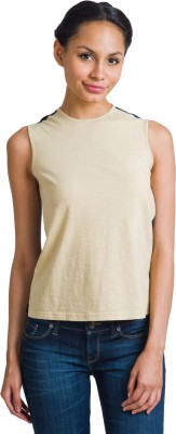 Bhane Casual Sleeveless Solid Women's Beige Top