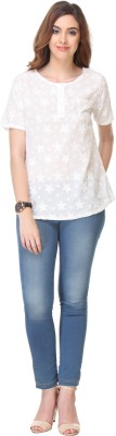 We Desi Party Short Sleeve Solid Women's White Top