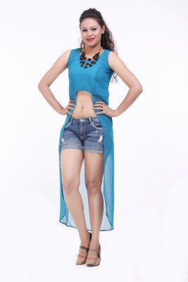 LOUISE BERRY Casual Sleeveless Solid Women's Blue Top