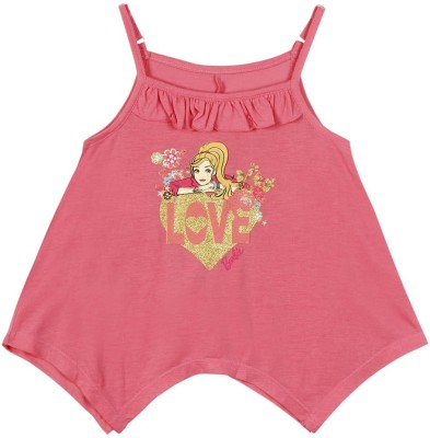 Barbie Casual Sleeveless Graphic Print Girl's Pink Top
