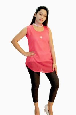 Shonaa Casual, Beach Wear Sleeveless Solid Women's Red Top