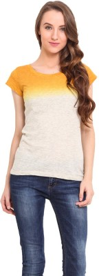 Trend Arrest Casual Short Sleeve Solid Women's Yellow Top