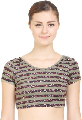 Wear Berry Party Short Sleeve Printed Women's Black Top