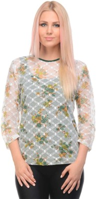 I Know Casual 3/4 Sleeve Embroidered Women,s Green, White Top