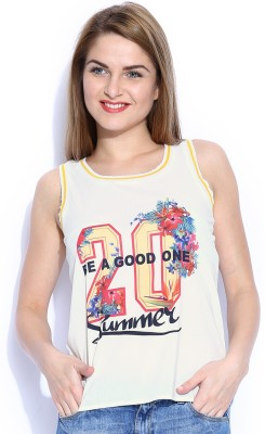 Mast & Harbour Casual Sleeveless Printed Women's White Top