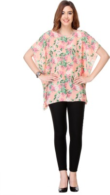 We Desi Party Butterfly Sleeve Printed Women's Pink Top