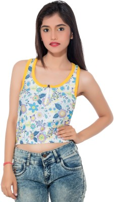 Feminine Casual Sleeveless Printed Women's Multicolor Top