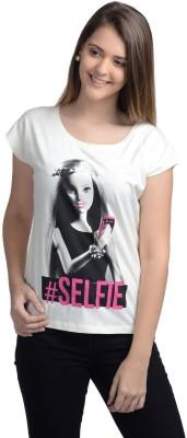 Barbie Casual Short Sleeve Printed Women's White Top
