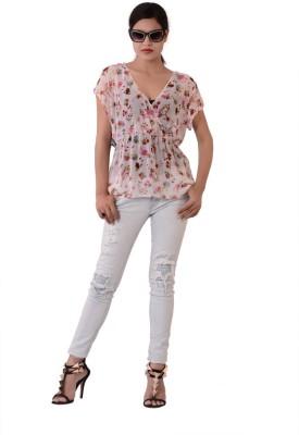 Fashnopolism Casual Short Sleeve Floral Print Women's Pink Top