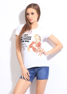 Comedy Central Casual Short Sleeve Printed Women's White Top