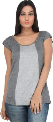 Mineral Casual Short Sleeve Solid Women's Grey Top