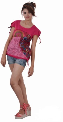 Uttam Enterprises Casual Short Sleeve Printed Women's Pink Top
