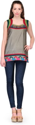 Belle Party Sleeveless Embroidered Women's Multicolor Top