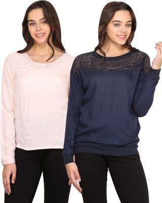 Nordic Bazaar Casual Full Sleeve Solid Women's Pink, Blue Top