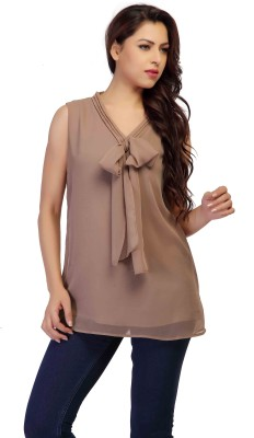 HERCOMPLETEWOMAN Casual Sleeveless Solid Women's Brown Top