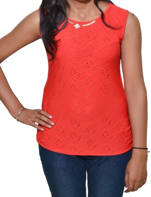 Mitra Creations Party Sleeveless Self Design Women's Red Top