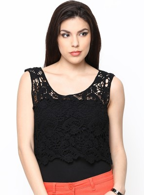 Paschime Casual Sleeveless Solid Women's Black Top