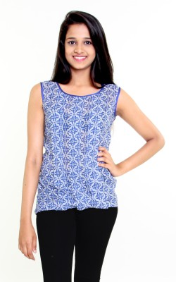 Aggana Casual Full Sleeve Floral Print Women's Blue Top