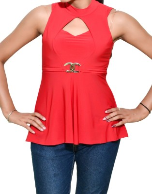 Mitra Creations Party Sleeveless Solid Women's Red Top
