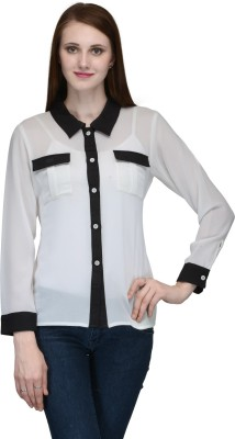 Natty India Casual Full Sleeve Solid Women's White, Black Top