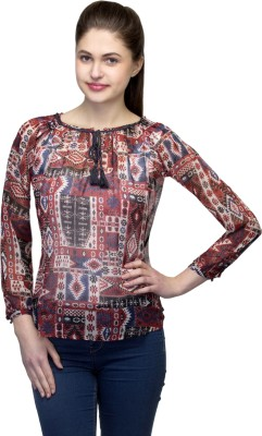 One Femme Party, Formal 3/4 Sleeve Geometric Print Women,s Multicolor Top