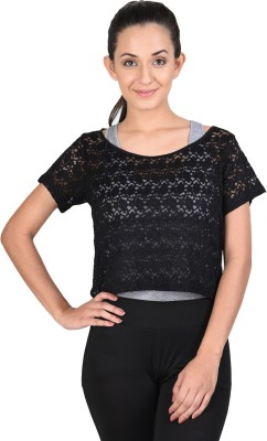Onesport Casual Short Sleeve Woven Women's Black Top