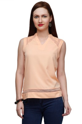 Eavan Casual Sleeveless Solid Women Orange Top at flipkart