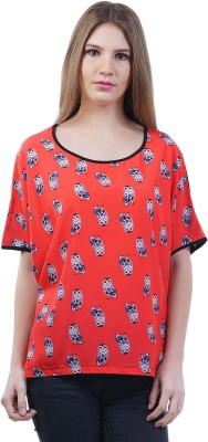 Merch21 Casual Short Sleeve Animal Print Women's Red Top