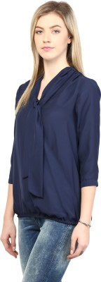 Rare Casual 3/4 Sleeve Solid Women's Blue Top