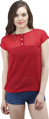 Osumfab Casual Short Sleeve Solid Women's Red Top