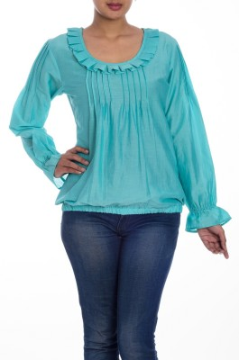 Textures Fashion Casual Full Sleeve Solid Women's Green Top