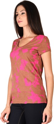 Curvy Q Casual Short Sleeve Printed Women's Brown Top