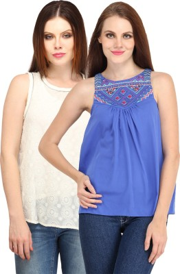 My Addiction Casual Sleeveless Printed Women's White, Blue Top
