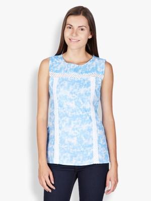 Tokyo Talkies Casual Sleeveless Printed Women's Blue Top