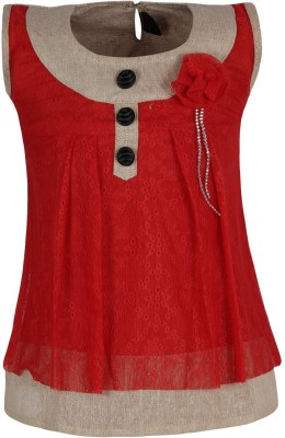 Jazzup Casual Sleeveless Solid Girl's Red Top