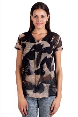 Ebry Casual Short Sleeve Graphic Print Women's Black Top