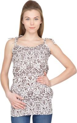 Species Casual Sleeveless Printed Women's Brown Top