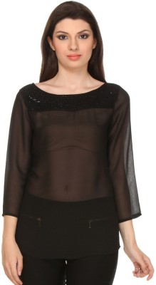 Oyshi Lounge Wear Full Sleeve Solid Women's Black Top