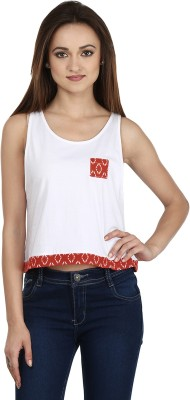 Ruse Casual Sleeveless Solid Women's White, Red Top
