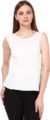 Oxolloxo Casual Sleeveless Solid Women's White Top at flipkart