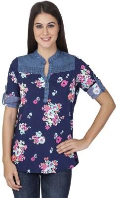 Tat Tvam Asi Casual Roll-up Sleeve Floral Print Women's Dark Blue Top