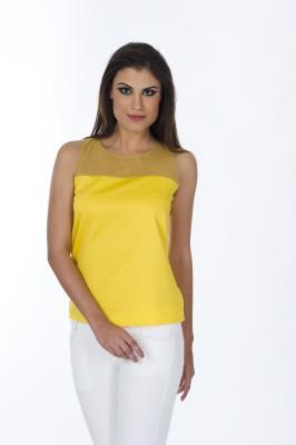Lisova Casual Sleeveless Solid Women,s Yellow Top