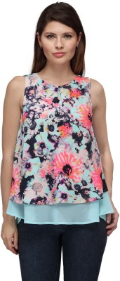 FW Collection Casual Sleeveless Floral Print Women's Blue Top