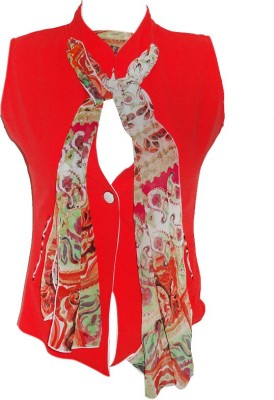 Forever 18 Casual Sleeveless Self Design Women's Red Top