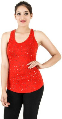 Opiumstreet Party Sleeveless Embellished Women's Red Top