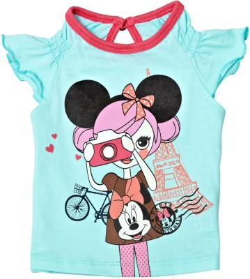 Disney Casual Short Sleeve Printed Baby Girl's Light Green Top