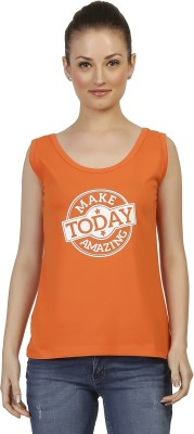 Threadz Casual Sleeveless Printed Women,s Orange Top