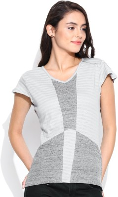 Butterfly Wears Casual Short Sleeve Solid Women's Grey Top
