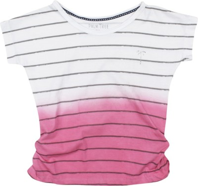 Palm Tree Casual Short Sleeve Striped Girl's Pink Top