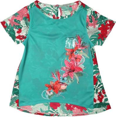 Allen Solly Casual Short Sleeve Floral Print Girl's Green Top